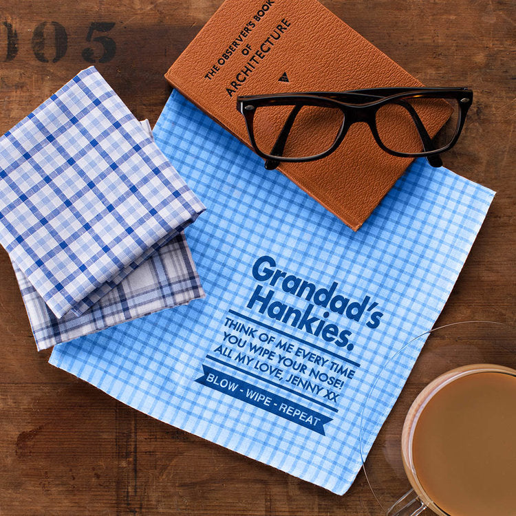 Best Grandad Personalised Message Handkerchiefs - Harrow and Green USA