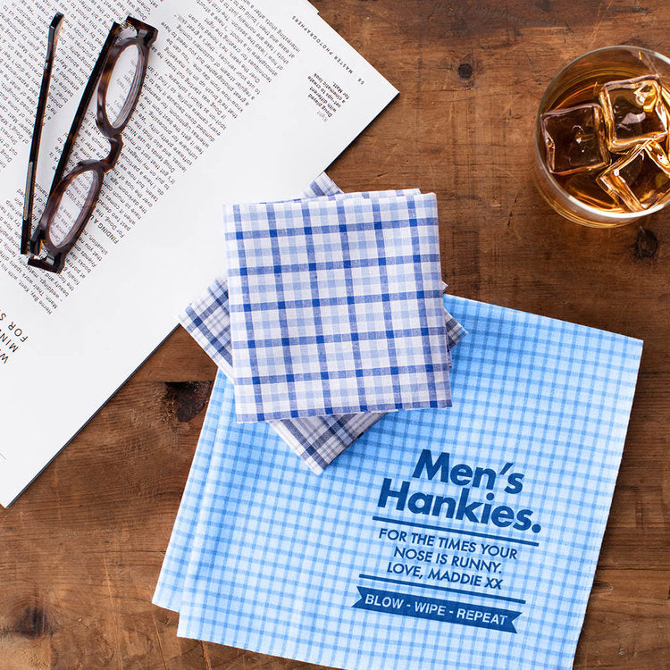 Mens Personalised Message Handkerchiefs - Harrow and Green