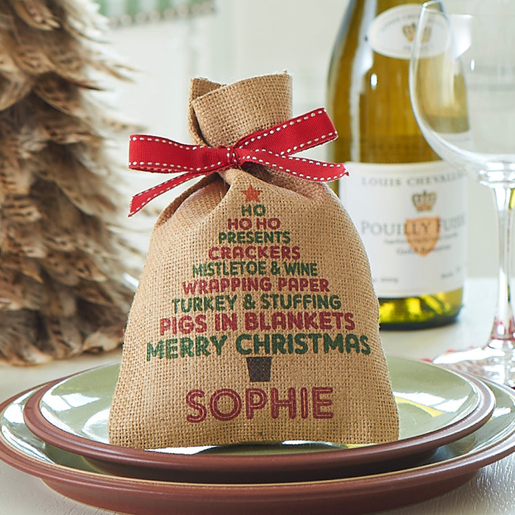 Load image into Gallery viewer, Christmas Tree Mini Sack with Name - Harrow and Green