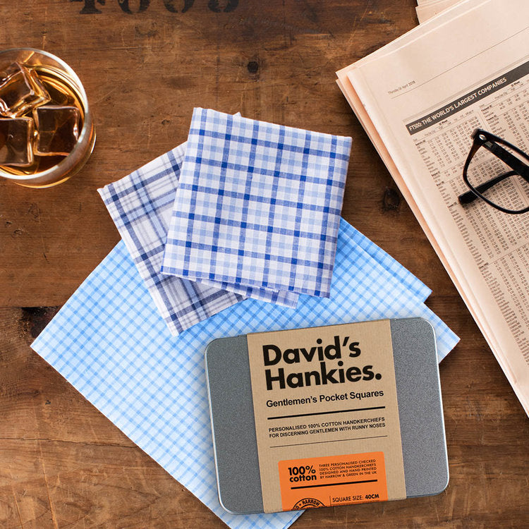 Father's Personalised Handkerchief Set - Harrow and Green