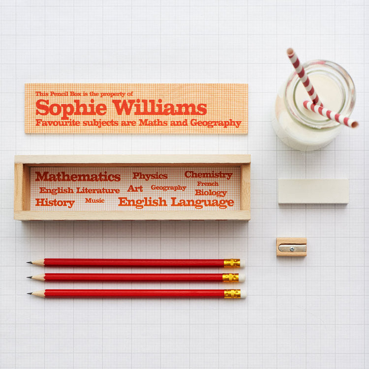 Personalized Wooden Pencil Box And Contents - Harrow and Green