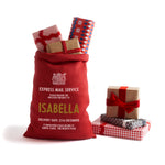 Personalized for You Red and Gold Burlap Santa Sack - Harrow and Green