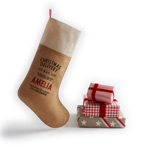 Personalized for You Burlap with Cotton trim Santa Stocking - HarrowandGreen
