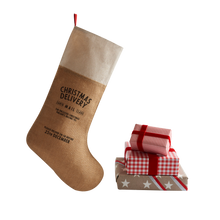 Load image into Gallery viewer, Personalized for You Burlap with Cotton trim Santa Stocking - HarrowandGreen