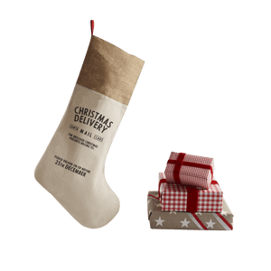 Personalize at Home Cotton with Burlap trim Santa Stocking - HarrowandGreen