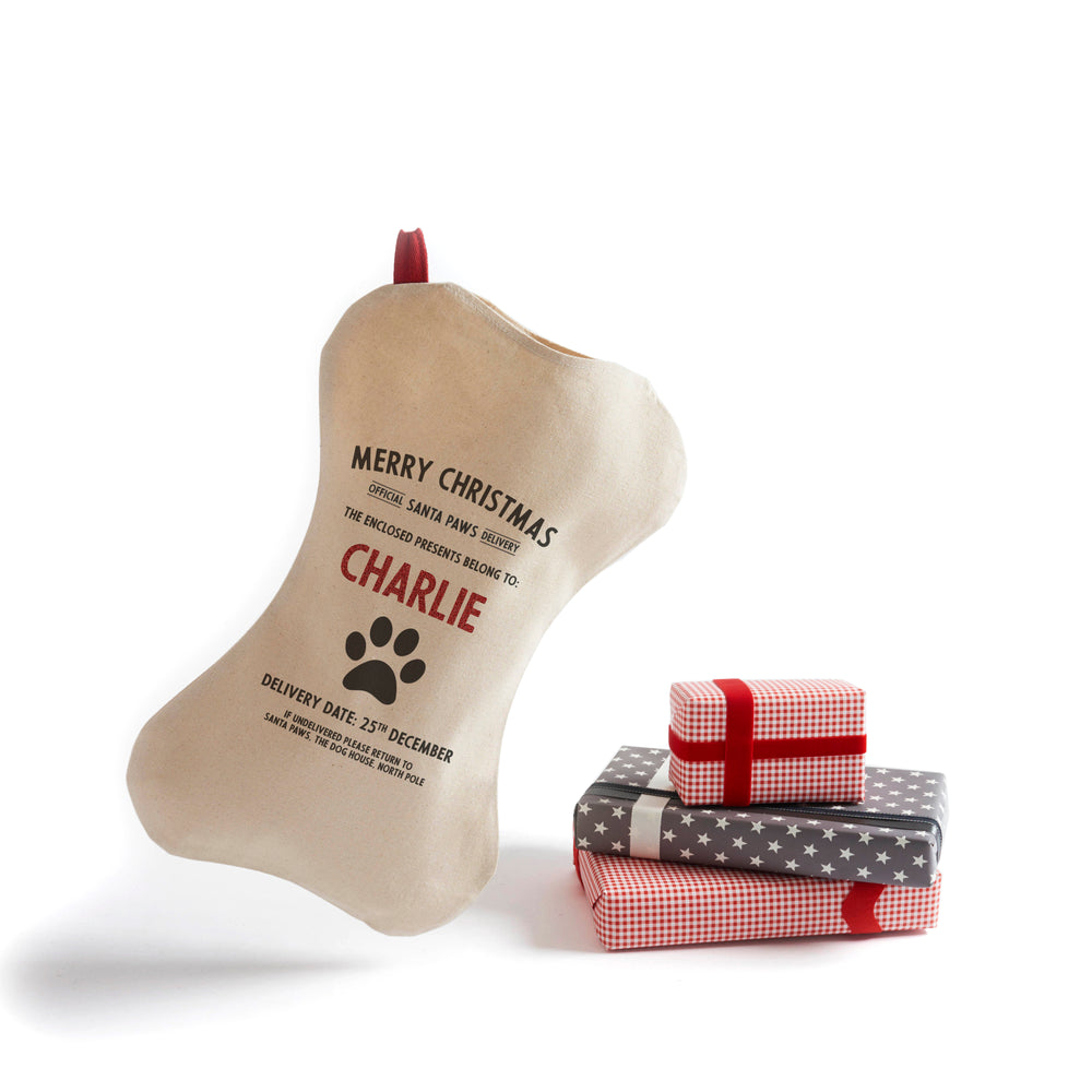 Personalized for You Cotton Dog's Santa Stocking - Harrow and Green