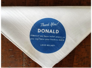 Load image into Gallery viewer, Funny Hankies Set of 2 - Donald / Hillary (25% goes to the American Red Cross) - Harrow and Green