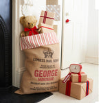 Letterpress Christmas Sack with Ticking Trim - Harrow and Green