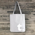 Grey Tote Bag with White Initial - Harrow and Green