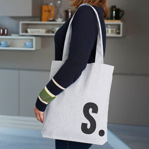 Grey Tote Bag with Black Initial - Harrow and Green