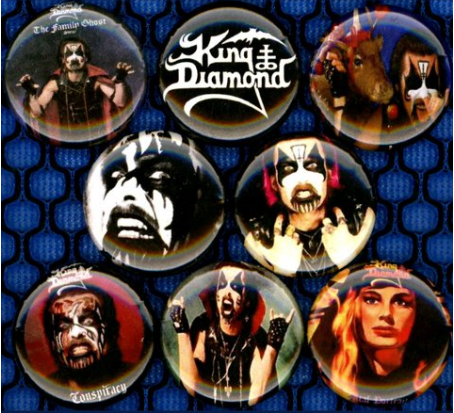 1 inch set of 8 King diamond buttons badge pins