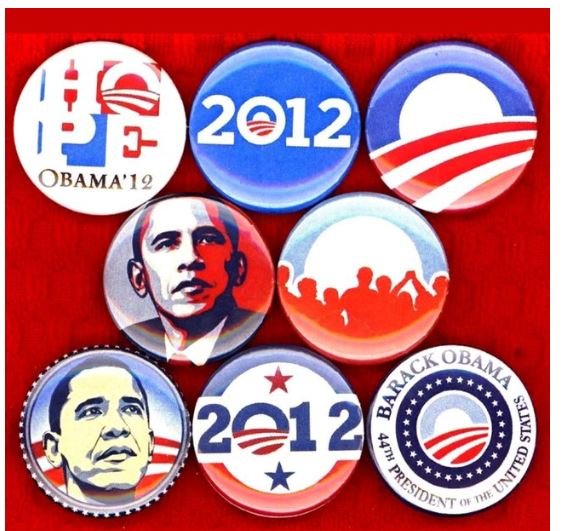Obama 2012 buttons badge pins set of 8