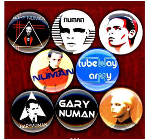 Gary numan tubeway army buttons badge pins set of 8