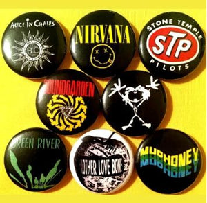 1 inch  set of 8 Grunge rock buttons badge pins