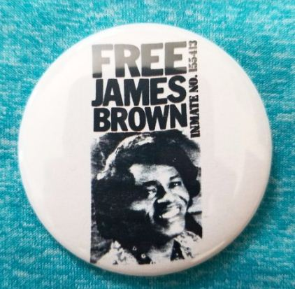 2.25 inch Free James Brown button badge pin