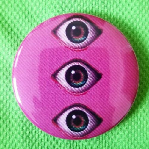 2.25 inch Pink Psychedelic Eyes button badge pin