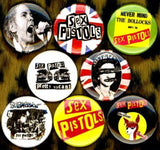 1 inch set of 8 Sex pistols buttons badge pins