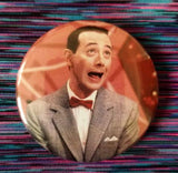2.25 inch pink background Pee Wee Herman button badge pin