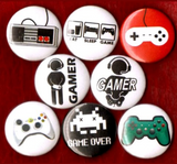 1 inch set of 8 Gamer button badge pins