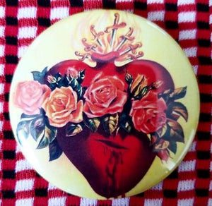 2.25 inch Sacred Heart with Red Roses button badge pin