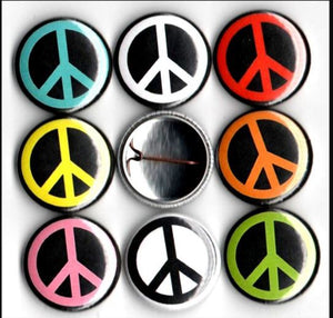 Peace sign button set of 8 pin backs