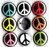 1 inch set of 8 Peace sign button pin backs