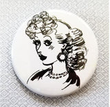 2.25 inch 1950s Vintage Lady button badge pin