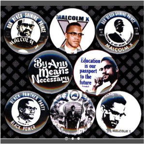 Malcolm x buttons badge pins set of 8