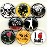 1 inch Zombie set of 8 buttons badge pins