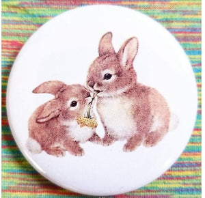 2.25 inch Two Baby Bunnies button badge pin