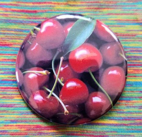 2.25 inch Cherries button badge pin