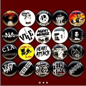 1 inch hardcore punk buttons badge pins set of 20