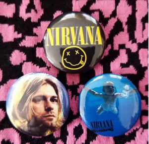 1.25 inch set of 3 Nirvana  pins