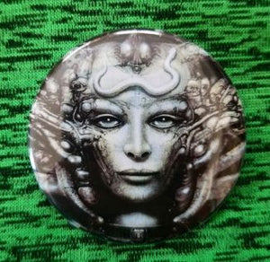 2.25 inch Giger button badge pin
