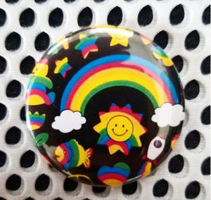 2.25 inch 90's Rainbow Print button badge pin