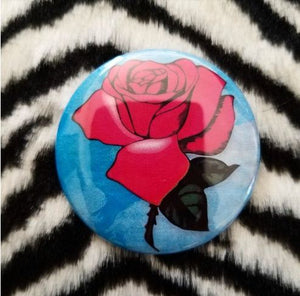2.25 inch Loteria Rose button badge pin