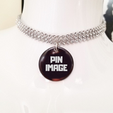 Pink pills silver crystal rhinestone choker necklace