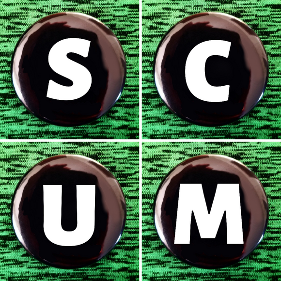 S C U M set of 4 new buttons pin badges