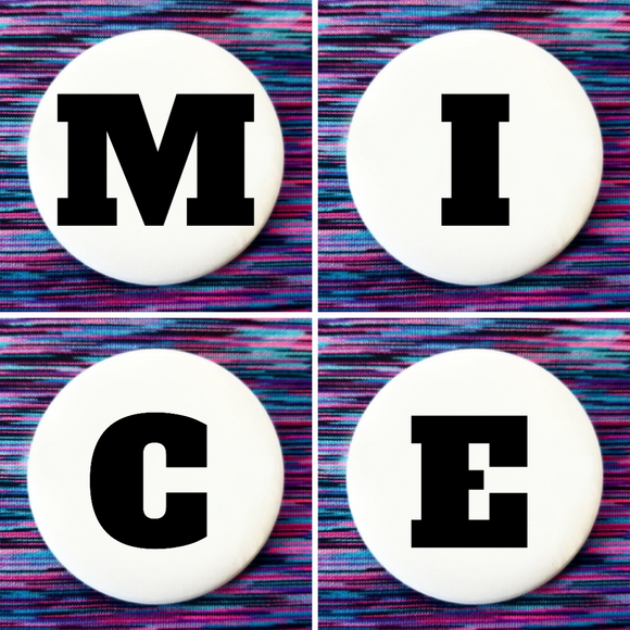 M I C E set of 4 new buttons pin badges