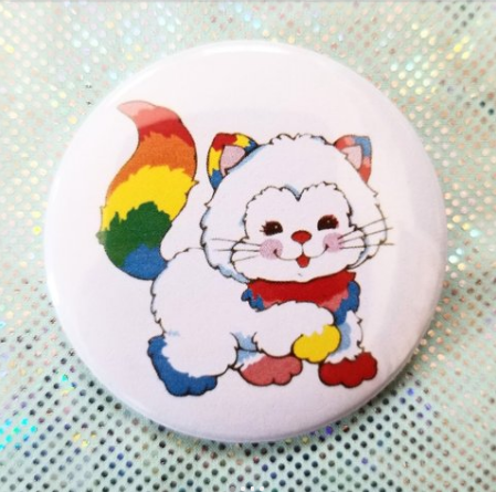 2.25 inch Rainbow Cat button badge pin
