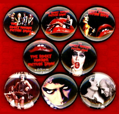 1 inch set of 8 Rocky horror picture show buttons badge pins