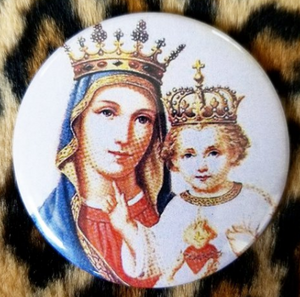 2.25 inch Madonna and Child button badge pin