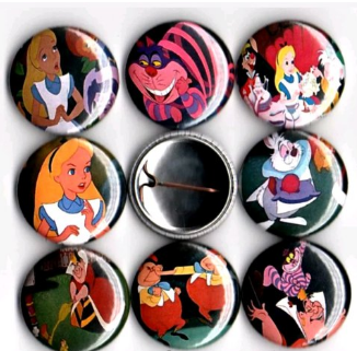1 inch set of 8 Alice in wonderland buttons badge pins