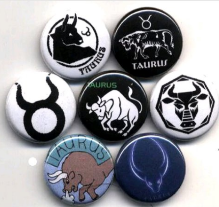 1 inch set of 7 Taurus button buttons badges pins