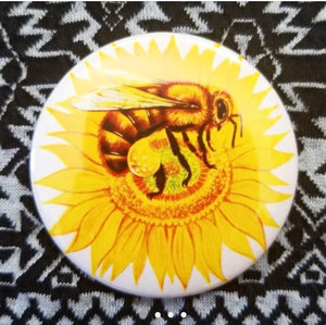 2.25 inch Sunflower Bee button badge pin