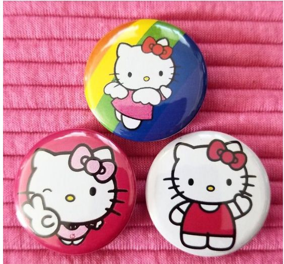 1.25 inch Hello Kitty set of 3 pins