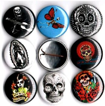 1 inch set of 8 Dia de Los muertos skulls day of the dead buttons badge pins
