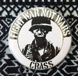 2.25 inch Crass Fight War Not Wars button badge pin