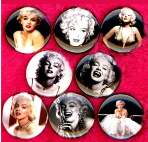 1 inch Marilyn Monroe set of 8 buttons badge pins