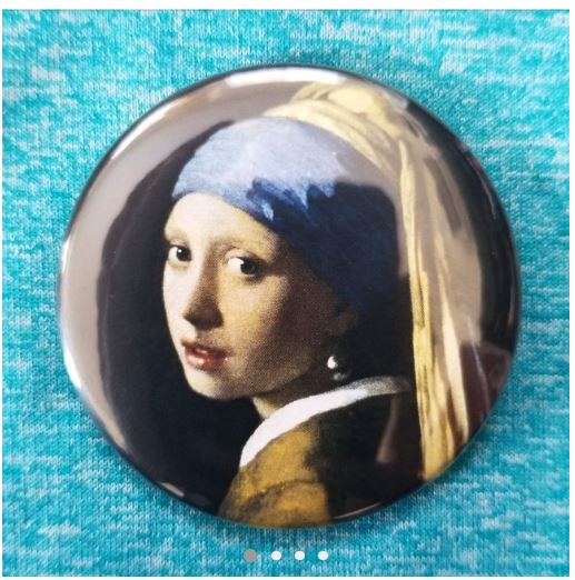 2.25 inch Girl with the Pearl Earring button badge pin